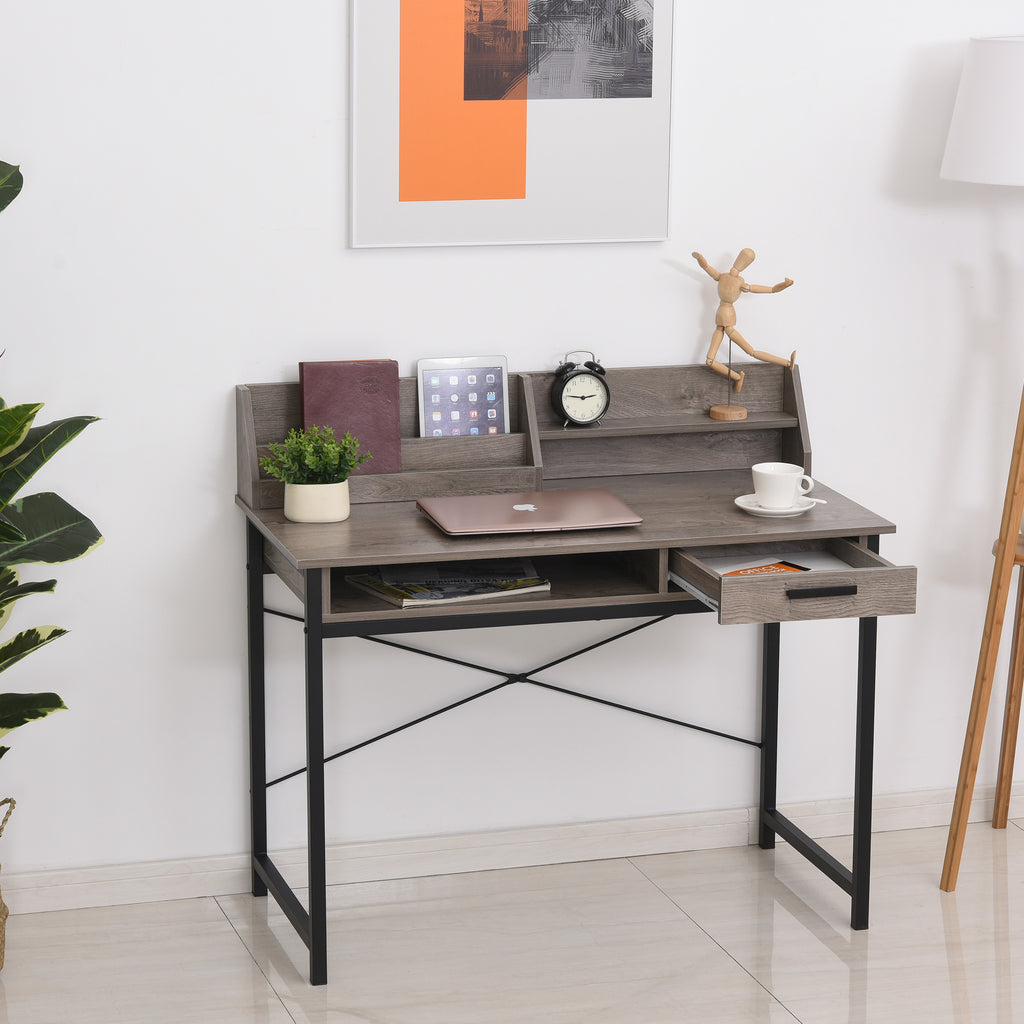 Home Office Computer Desk - Grey-Brown