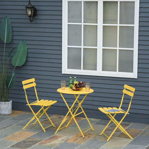 3pc Outdoor Foldable Dining Set - Yellow