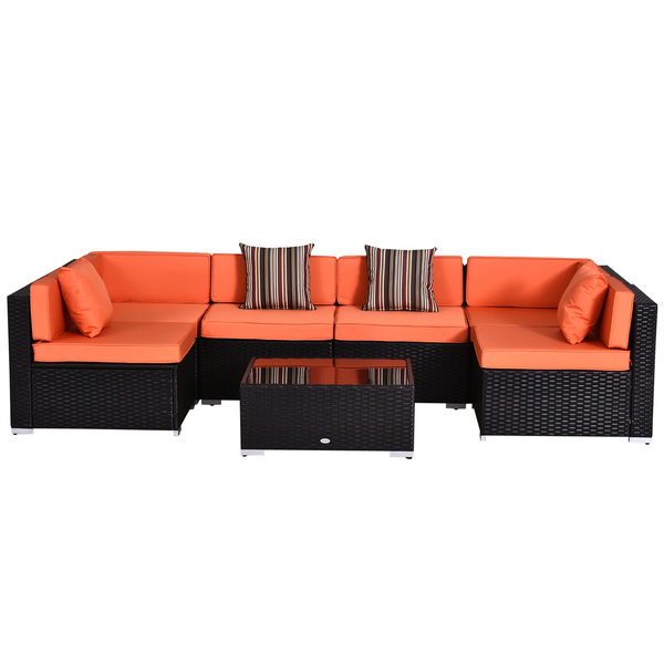 7pc Wicker Patio Furniture Sectional Sofa Set with Cushions - Orange