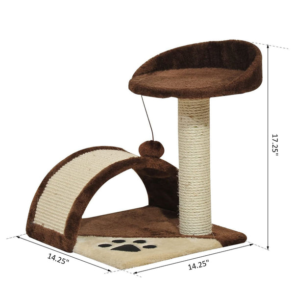 "17"" Cat Tree Scratching Post - Brown"
