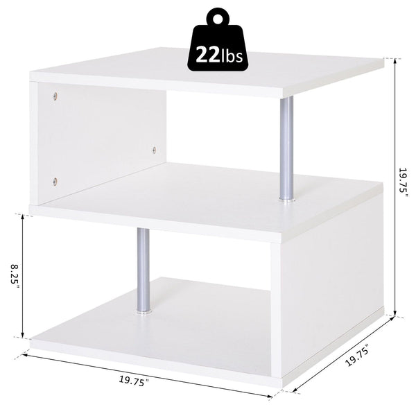 Wooden 3-Tier End Table Shelf - White