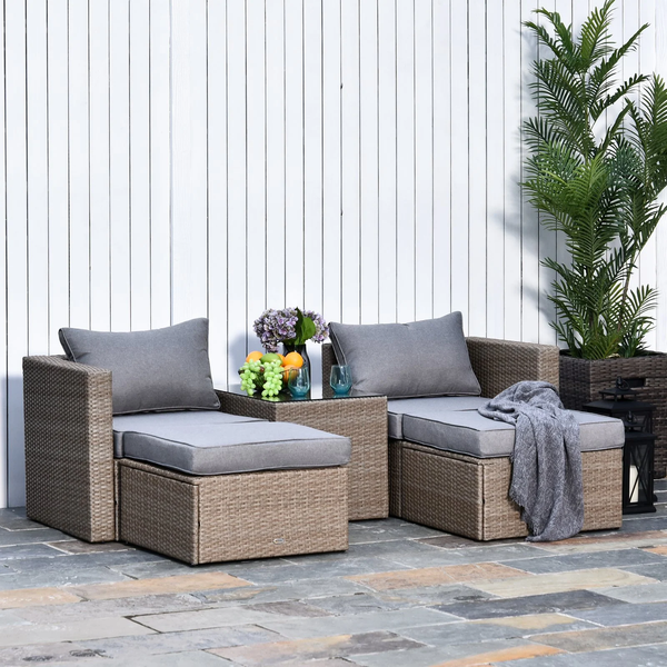 5pc Rattan Wicker Outdoor Sectional Sofa Patio Furniture Set - Deep Grey