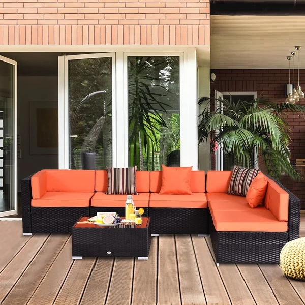 7pc Wicker Patio Furniture Sectional Sofa Set with Cushions - Assorted Colours