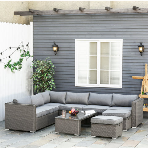 6pc Outdoor Rattan Wicker Patio Furniture Set - Grey