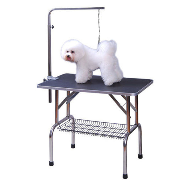 "36"" Stainless Steel Dog Grooming Table with Adjustable Arm and Basket - Black"