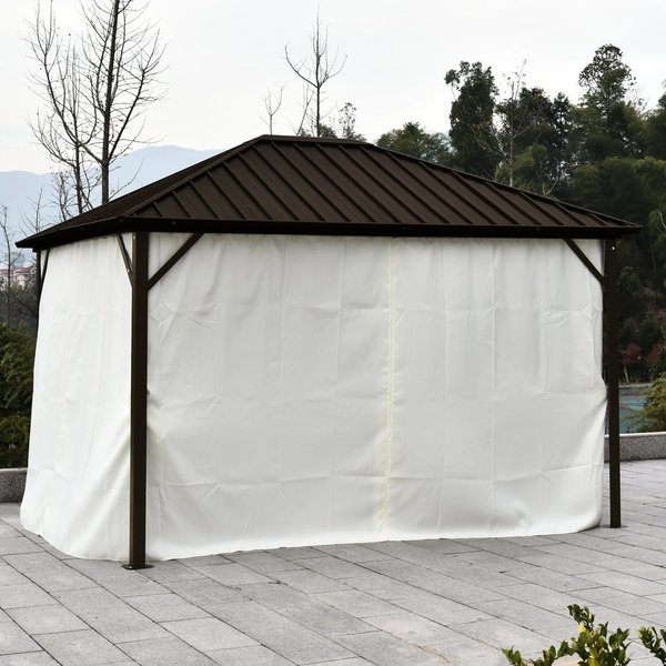 12' x 9.8' Hardtop Patio Gazebo with Curtains and Zipper Netting - Beige