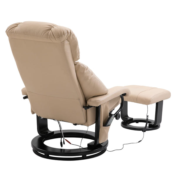 Massage Recliner with Ottoman - Cream