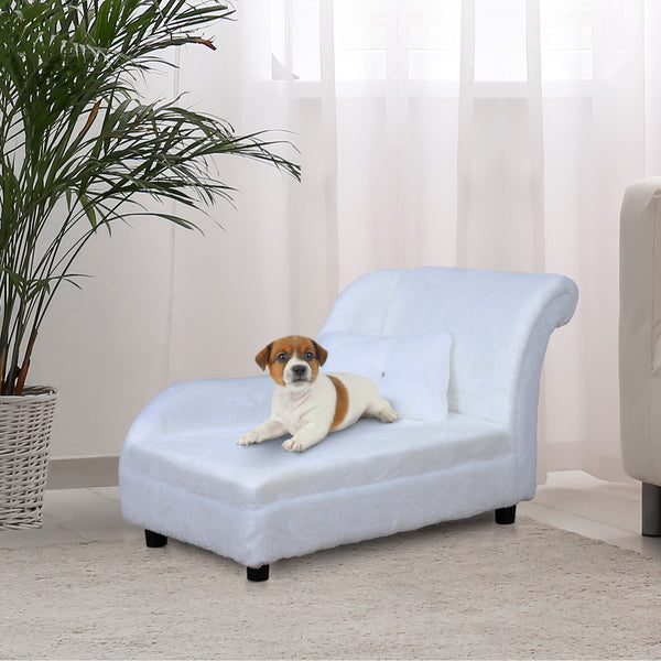 Pet Sofa Bed With Pillow - White