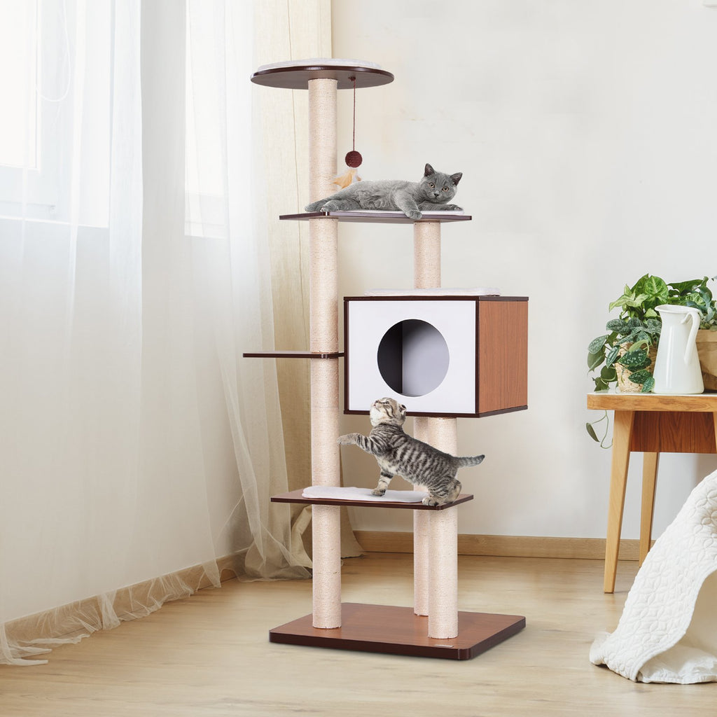 "60"" Cat Tree Condo Scratching Post - Brown and White"