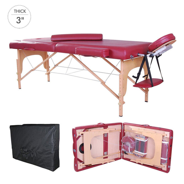 Portable Physio Reiki Massage Esthetics Table Bed with Bolster Pillow - Red