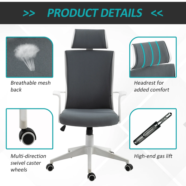 Ergonomic Adjustable Home Office Computer Swivel Chair - Grey