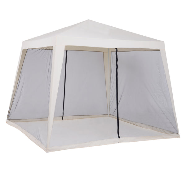 10x10 ft Gazebo with Mesh Screen Walls - Light Beige