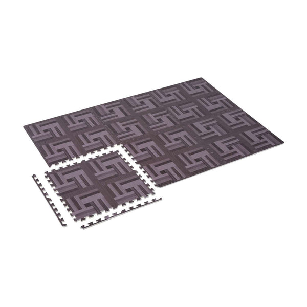 Dark Wood Grain Interlocking Floor Exercise Home Office Mats - 18 Pc Set