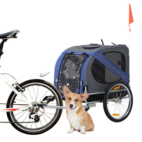 Pet Bicycle Trailer - Grey and Blue