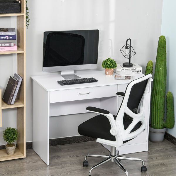 Computer Writing Desk Table  with Two Drawers and Locker - White