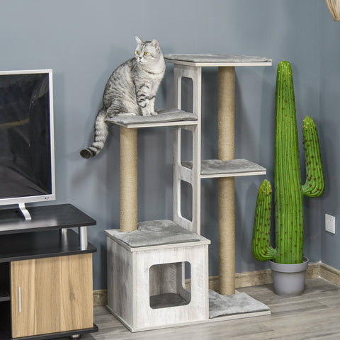 "45"" Cat Tree with Scratching Posts - Grey"