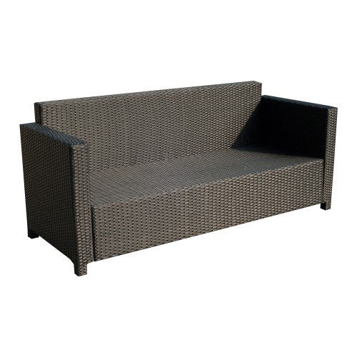 Simulated Rattan Indoor Outdoor Wicker Patio Sofa with Cushions - Beige