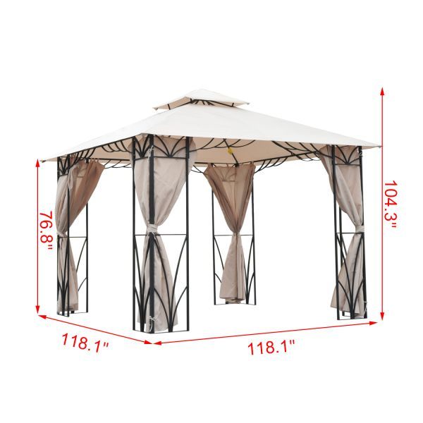 10x10 ft Steel Gazebo Canopy with Curtains