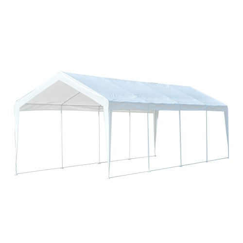 10x30 ft Large Steel Party Carport Canopy Tent with Sides - White