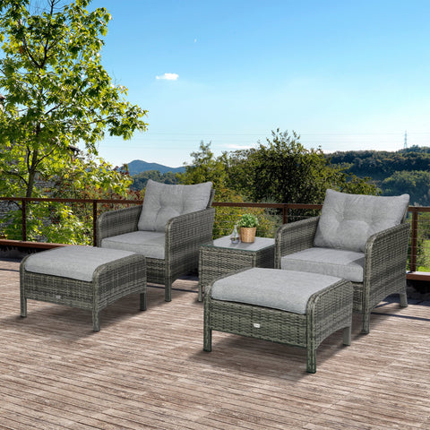 5pc Wicker Patio Furniture Sectional Sofa Set with Cushions - Light Grey
