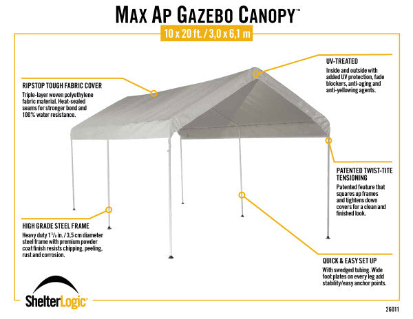 10x20 ft. Outdoor Event 6 Leg MaxAP Powder Coated Steel Gazebo Canopy Tent