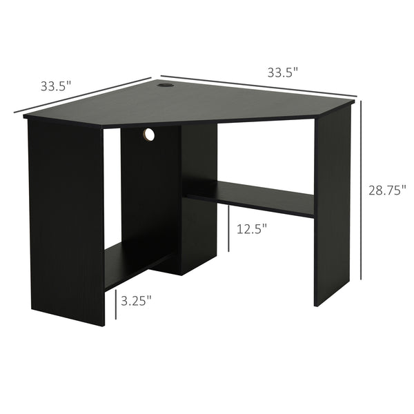 Multi Tier Computer Writing Desk with Shelves - Black