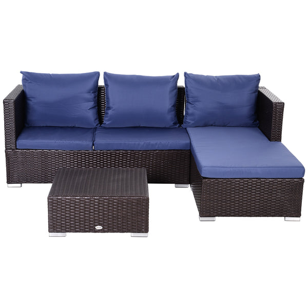 3pc Adjustable Outdoor Patio Garden Furniture Set - Navy Blue
