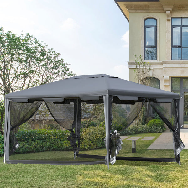 10x13 Ft Light Duty Gazebo with Mesh Sidewalls - Grey