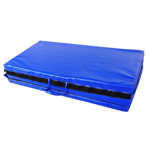 Folding Gym Exercise Yoga Mat (4 Panels) - Bright Blue