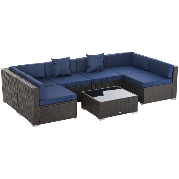 7pc Wicker Patio Furniture Sectional Sofa Set with Cushions - Coffee and Dark Blue