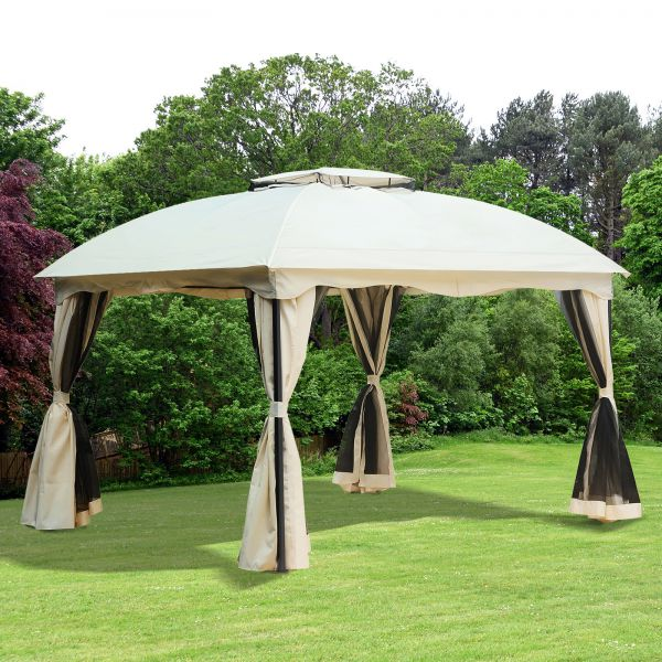 12x10 ft Double Tier Roof Tent Gazebo with Curtains