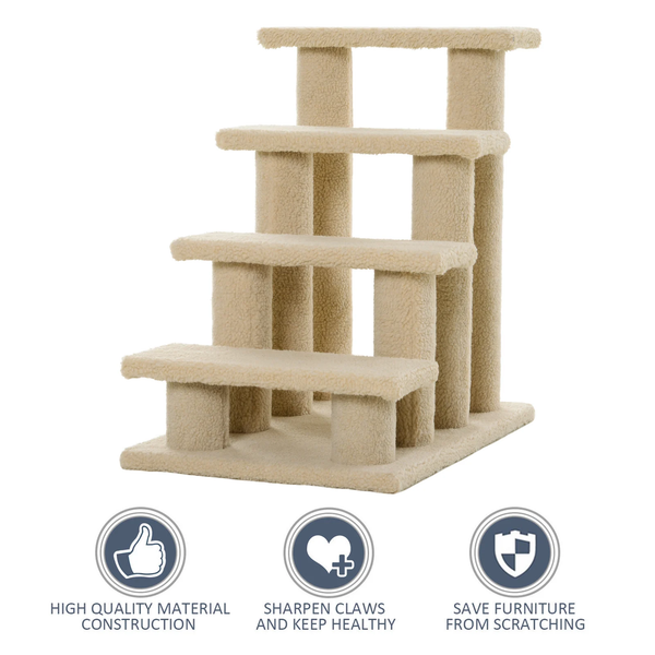 4 Tier Cat Pet Stepper - Light Brown