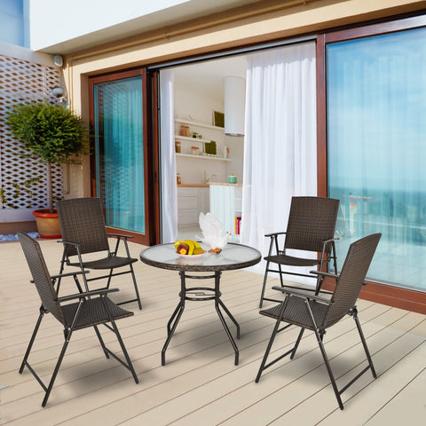 Outdoor Rattan Wicker Patio Furniture Set with Glass Table - Brown