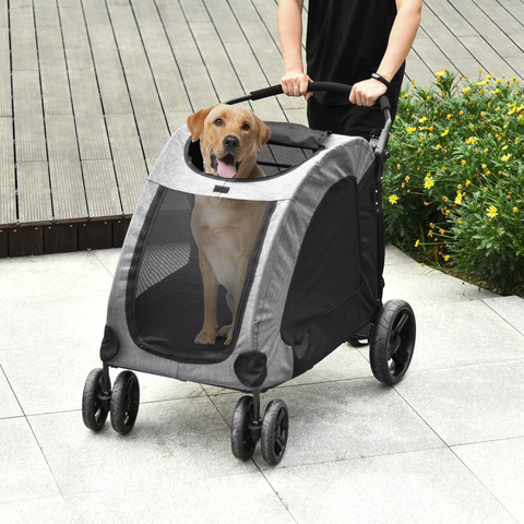 Folding  Pet Stroller Carrier -  Grey
