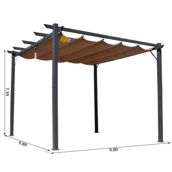 10x10 ft Aluminum Pergola Gazebo with Retractable Canopy - Brown & Black