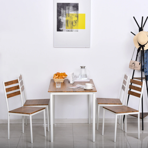 5pc Dining Set - White Brown