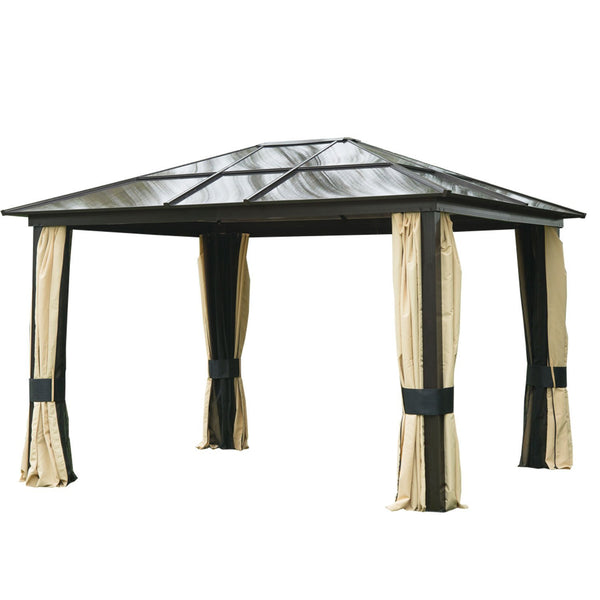 12x10 ft. Hard Top Waterproof Garden Gazebo with Mosquito Netting