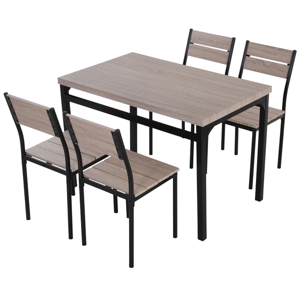 5pc Wooden Dining Set - White Pine Wood