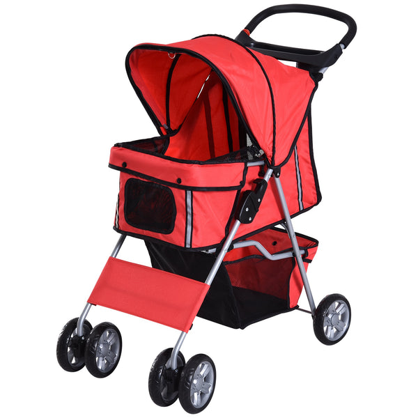 Pet Stroller with Folding Sunshade - Red