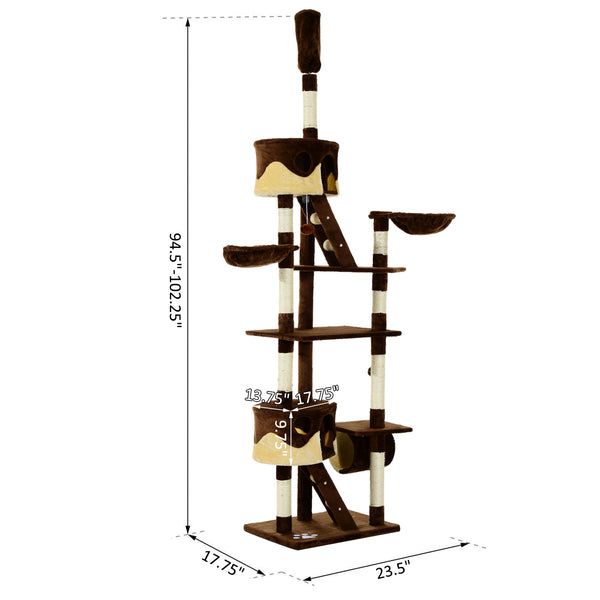 "94""-102"" Multilevel Cat Tree Play House - Brown and Beige"