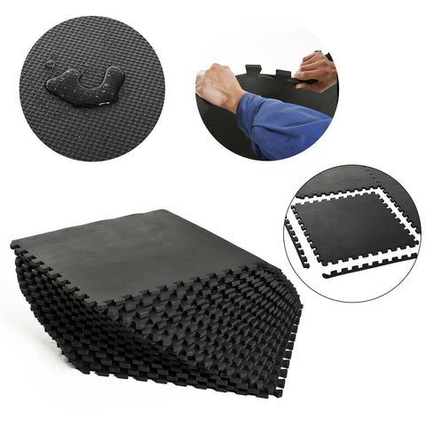 Black Wood Grain Interlocking Floor Exercise Home Office Mats - 18 Pc Set