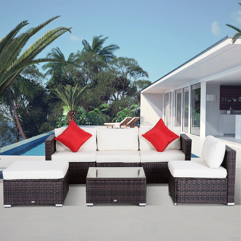 6pc Wicker Rattan Outdoor Sectional Sofa Garden Patio Set - Coffee and Cream