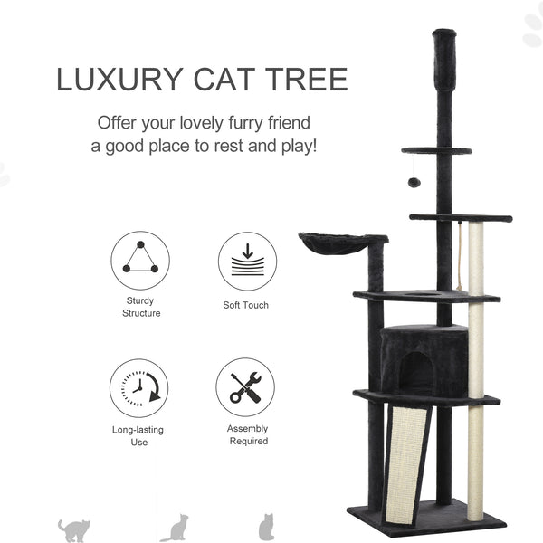 "83""- 95"" Multilevel Cat Tree Condo with Scratching Posts - Dark Grey"