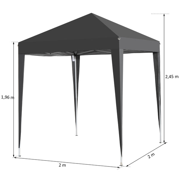 06x06 ft Easy Folding Pop Up Wedding Party Canopy Tent with 4 sidewalls - Black
