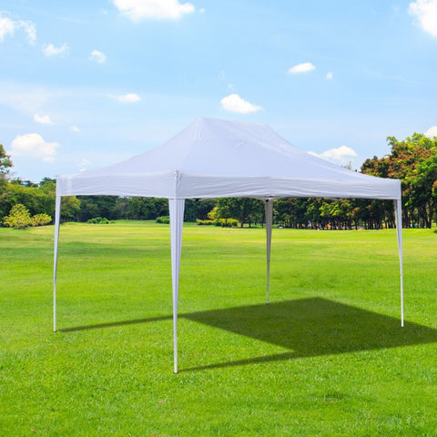10'x15'ft Easy Folding Pop Up Party Canopy Tent  -  White