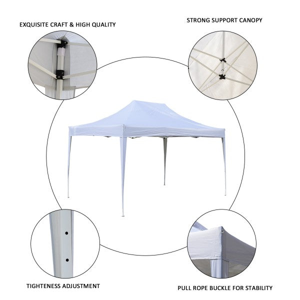 10x15 ft Easy Folding Pop Up Party Canopy Tent  -  White