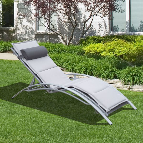 Reclining Outdoor Patio Chaise Lounge Chair with Cushion and Pillow