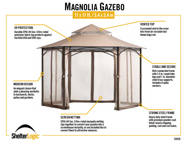 11x11 ft. Fabric Softtop Patio Gazebo with Curtains Mesh Mosquito Net - Bronze