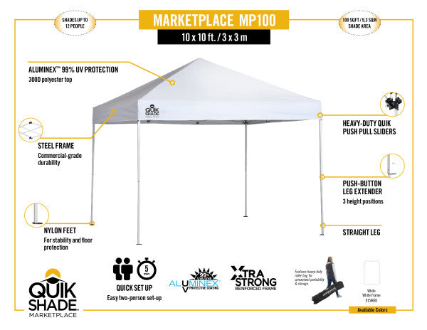 10x10 ft Pop-Up Canopy Tent - White