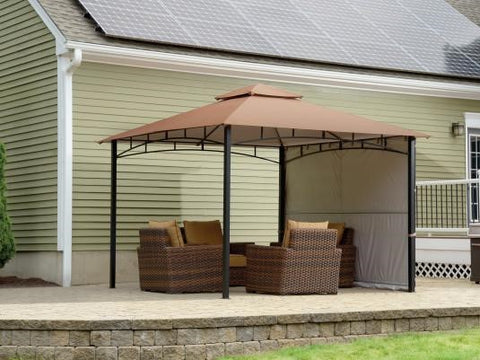 11x11 ft. Redwood Gazebo With Extendable Awning - Bronze